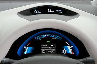 The dashboard of the Nissan Leaf all electric vehicle looks very futuristic.
