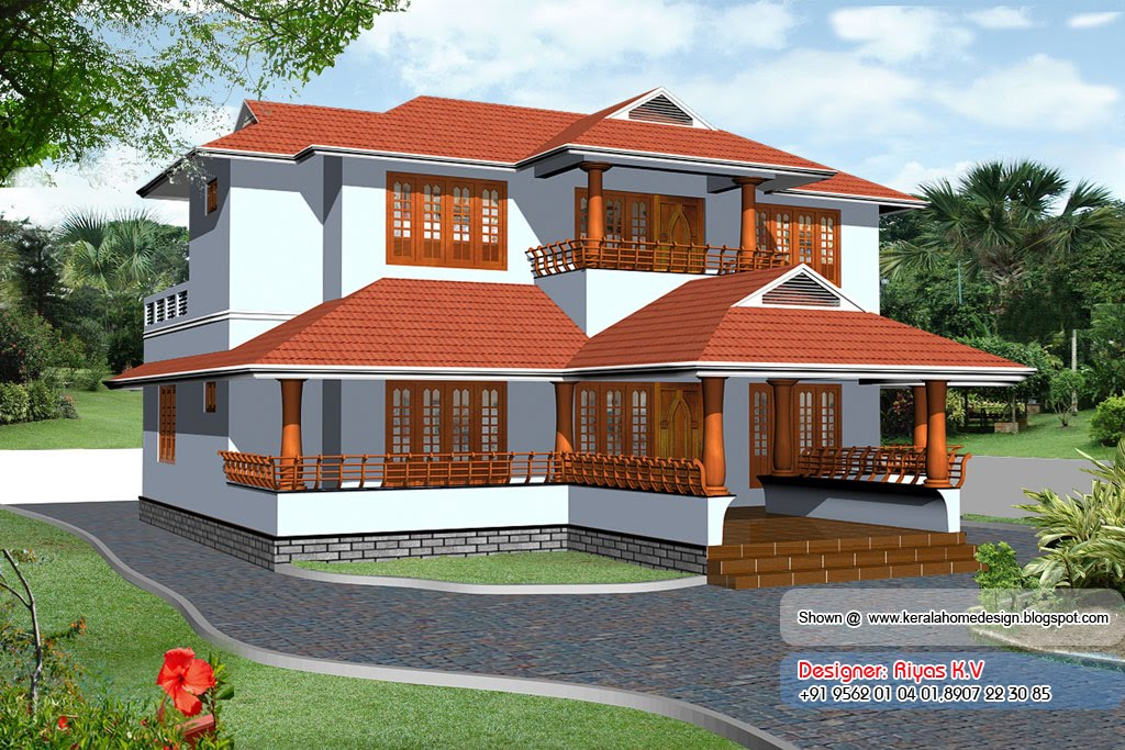 Kerala Home plan and elevation - 2726 Sq ft - Elevation View 3D