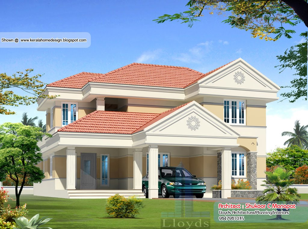 Kerala villa plan and elevation 2627 sq feet kerala for Kerala style villa plans