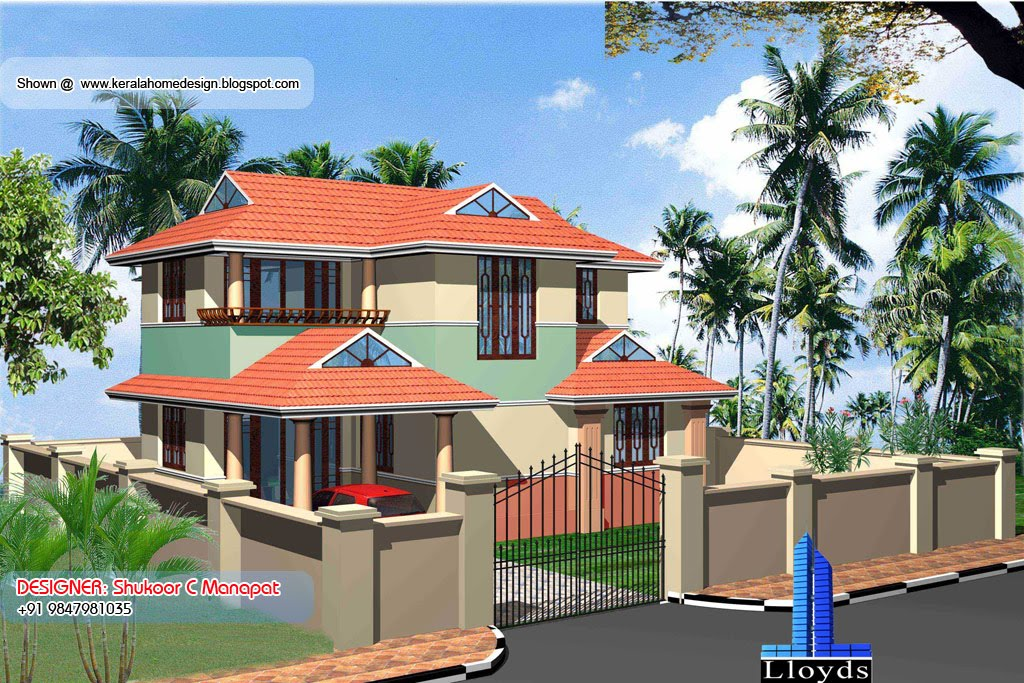 Villa plan and elevation in Kerala - 1369 Sq. Feet