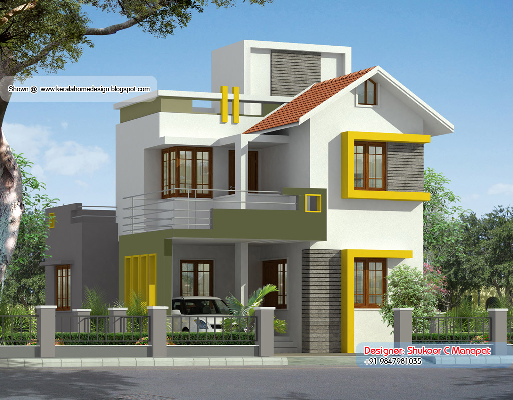 Small villa designs 1000 square feet double floor kerala for Kerala home design 1000 sq feet