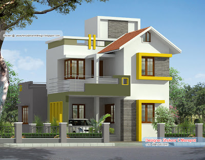 1500 square feet kerala style villa plan kerala home for Small house design in kolkata