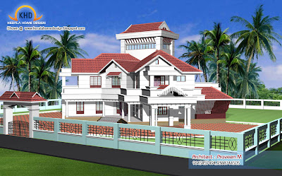 Home plan and elevation   6544 Sq  Ft   Kerala home design and