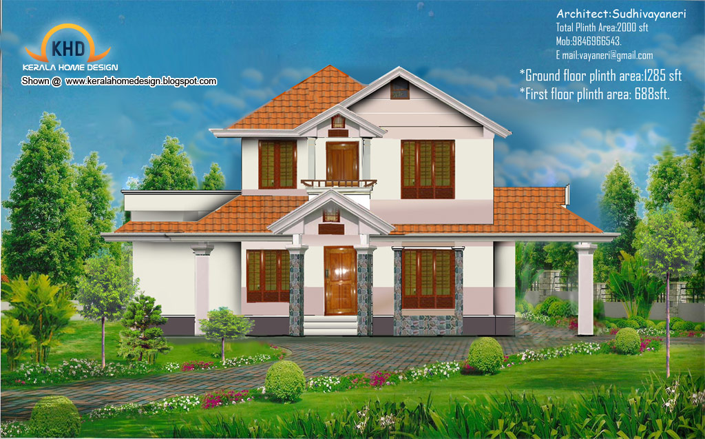 Home plan and elevation 2000 sq ft kerala home design for Home designs 2000 sq ft