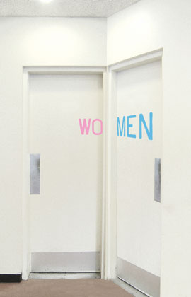 two washroom doors adjacent to each other. One reads wo the other reads men & Go Where? Sex Gender and Toilets - Sociological Images