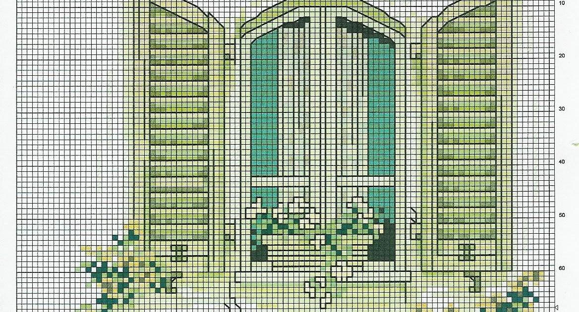 Punto de cruz jardin vista al mar ventana - Punto jardin ...