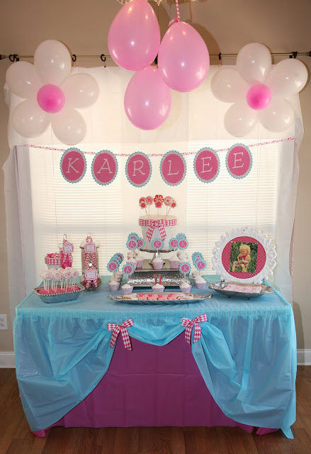 Sweet Party, girl's theme party  pink and frilly from Home made from scratch  kids theme parties, bridal and baby showers http://www.frostedevents.com