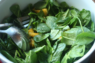 An Indian-inspired Spinach Mango Salad