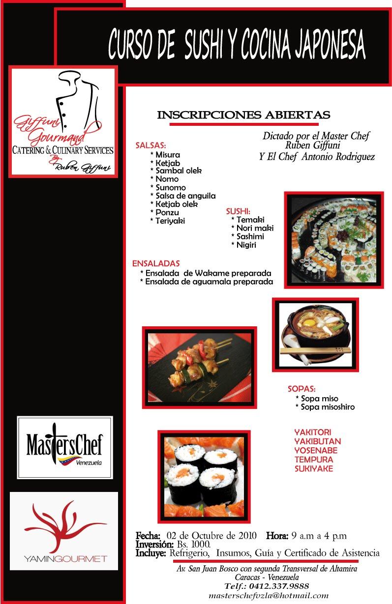 Ruben giffuni curso de sushi y cocina japonesa caracas - Curso cocina japonesa ...