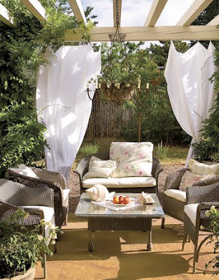 White floors party ideas sheer outdoor draping for Romantic patio ideas