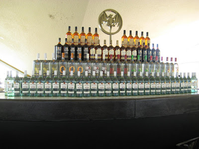 bottles of Bacardi Rum lined up and stacked for a delightful display