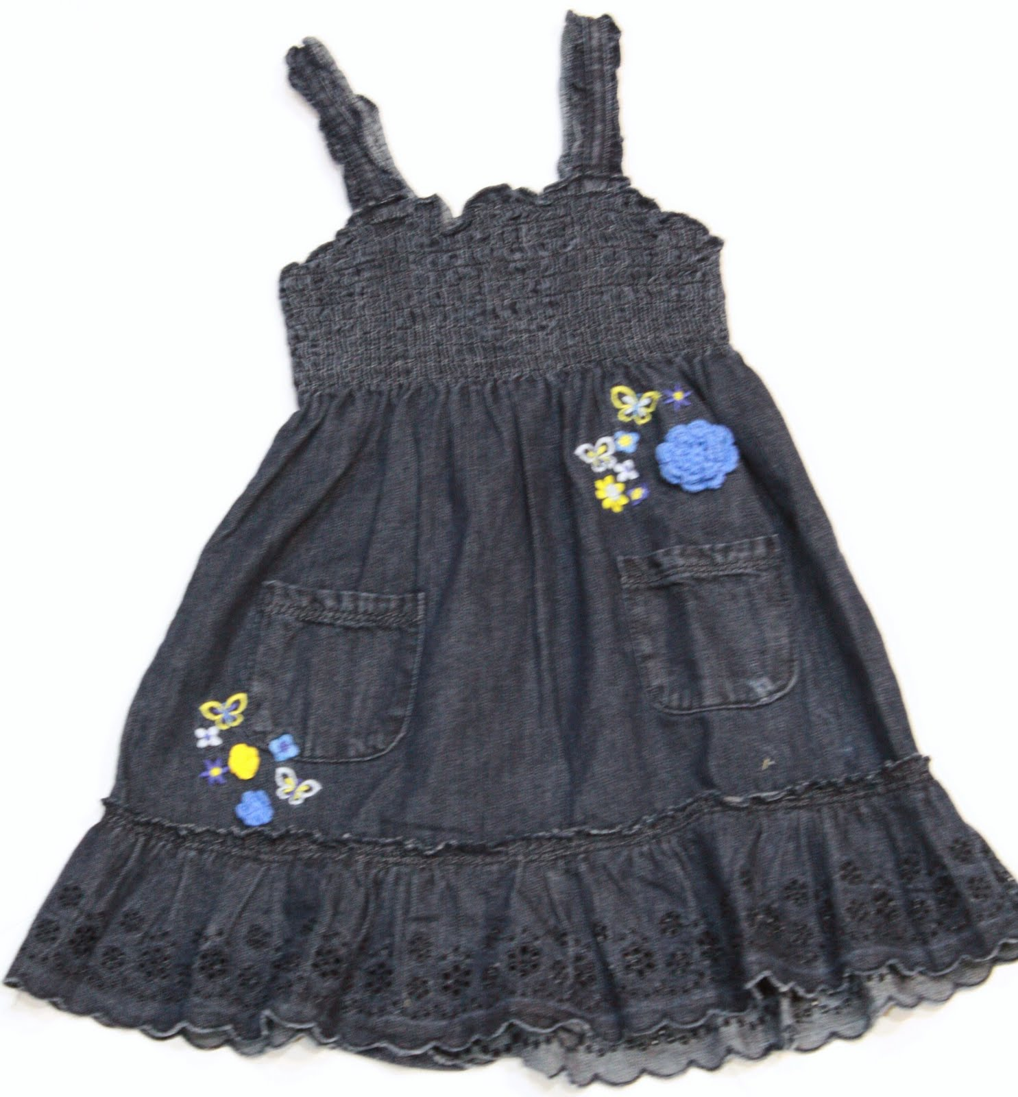 Ally & Friends Kids Stuff Butterfly Embroidered Smocked Denim Dress