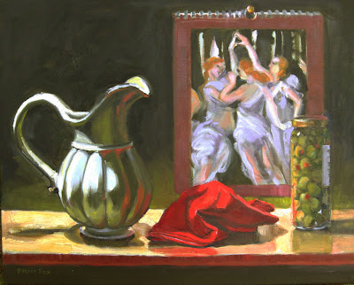 Oil painting colorful still life pitcher Botticelli Primavera linen napkin Marie Fox