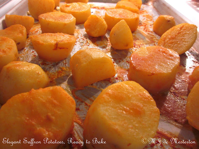Boiled in water infused with saffron and paprika, these golden