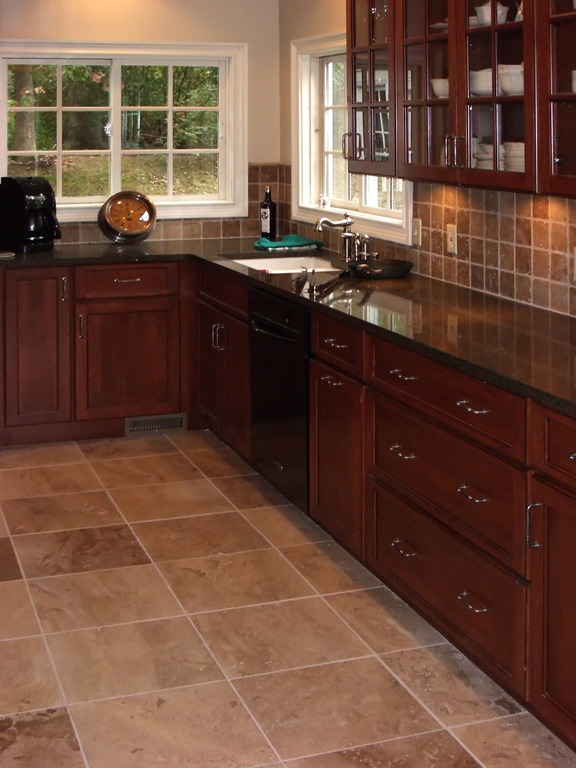 Flooring fanatic how much does a new kitchen floor cost for Dark tile kitchen floor