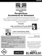 Foro: Perspectivas Econmicas en Venezuela - Ponentes: Lcdos. Jos Manuel Puente y Pavel Gmez-IESA