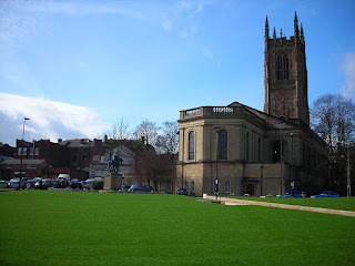 Derby Cathedral from the newly redesigned Cathedral Green. Photo by Nick Brown. Its use on other sites has not been authorised by the Project Team.