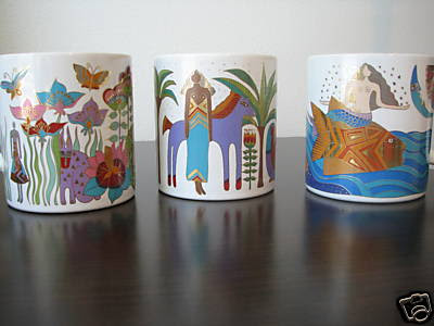 3 Laurel Burch 1989 Collectible Mugs