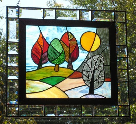 Stained glass review stained glass window panels for Glass panel design