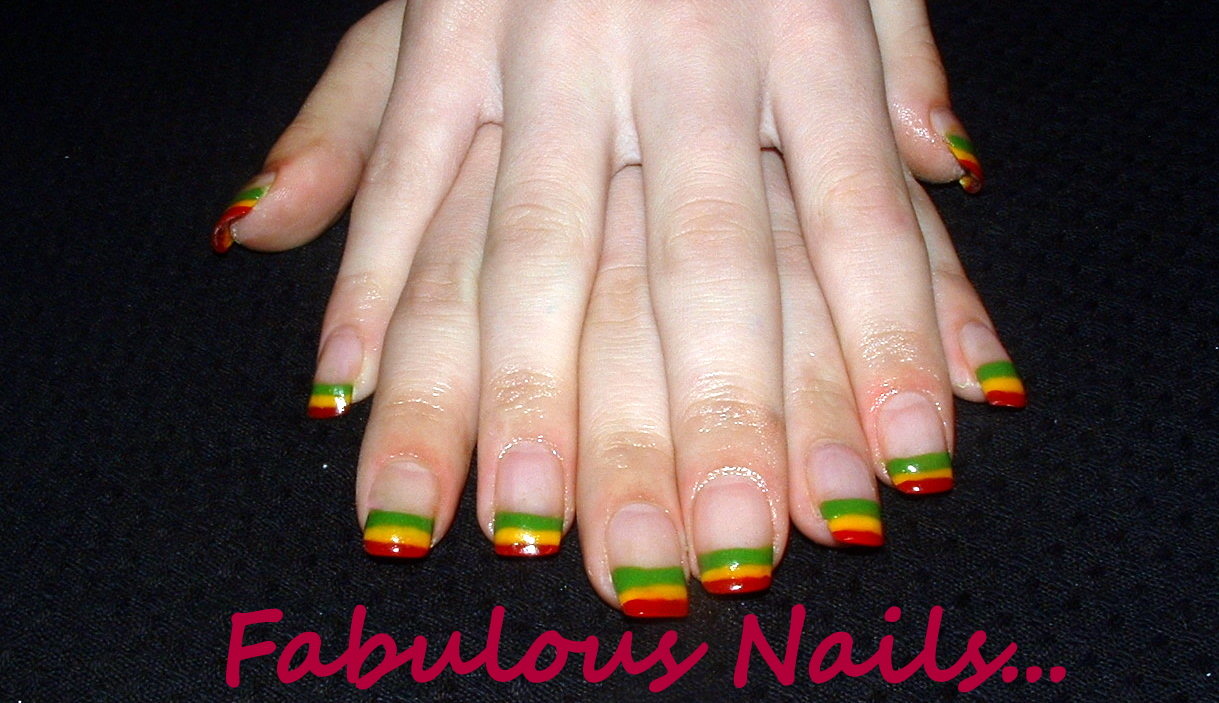 fabulous nails by mandie: rainbow nail tips!