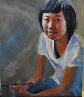 Acrylic portrait of Shenzhen Girl by Jim Demello
