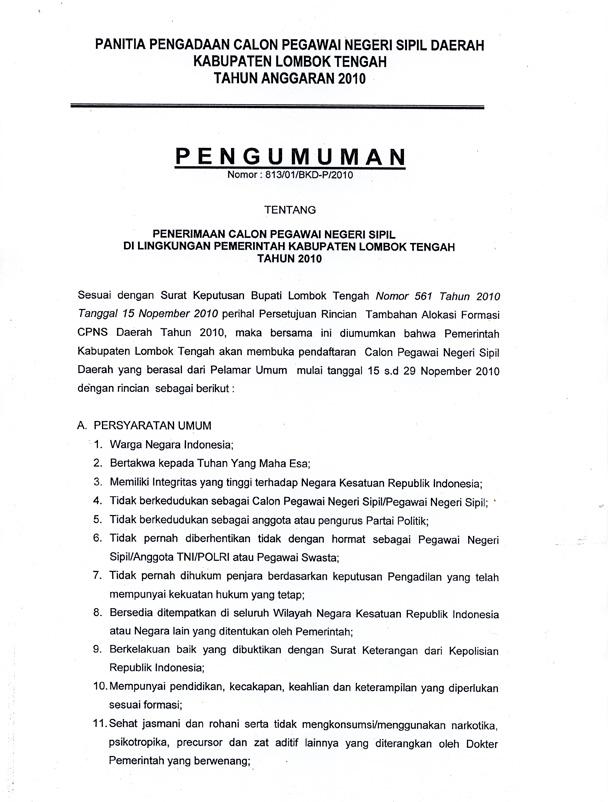 cpns lombok tengah 2010