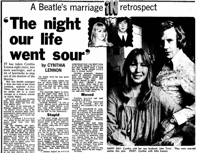 Kenwood Cynthia Lennon Interview Johns Response