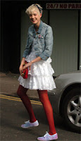Agyness Deyn in white dress with bright tights - It's fashion, dahling!