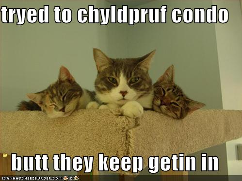 tryed to chyldpruf condo butt they keep getin in