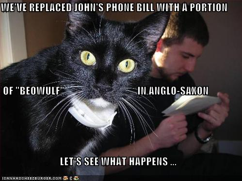 WEVE REPLACED JOHNS PHONE BILL WITH A PORTION OF BEOWULF