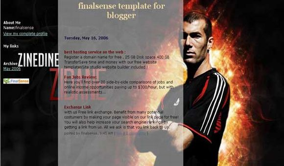 Free Blogger Zidane Fans Football Web2.0 Template