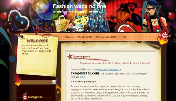 Free Red Black Fashion Blogger Template