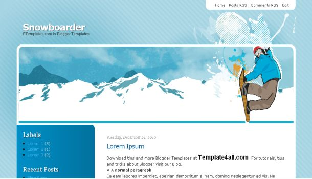 Free Snow Boarder Blue Blogger Template