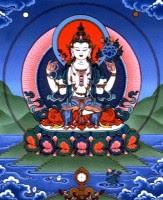 Avalokiteshvara o Chenrezig para los tibetanos. Significa el señor que mira hacia abajo con compasión