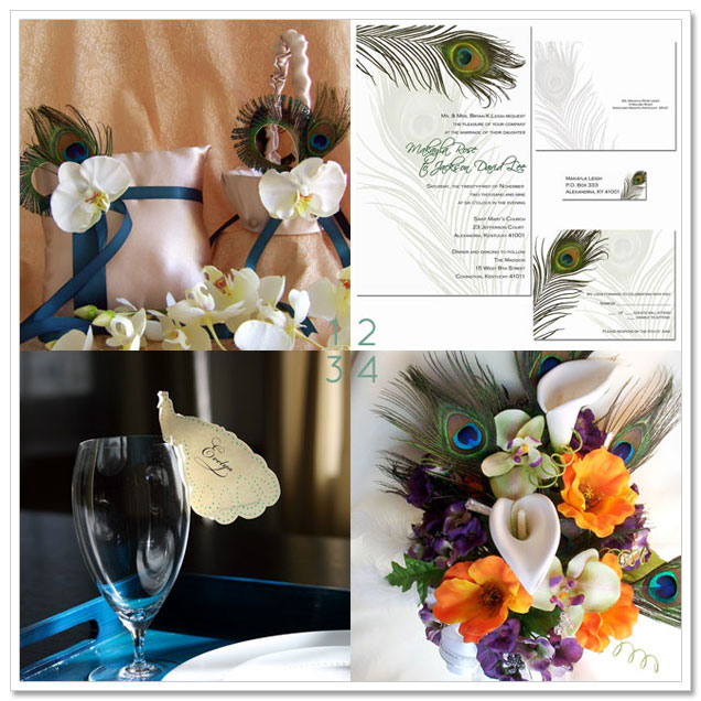 Our final selection of beautiful peacockthemed wedding accessories