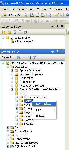 How to create table on sql server codes 47 for Table design sql server
