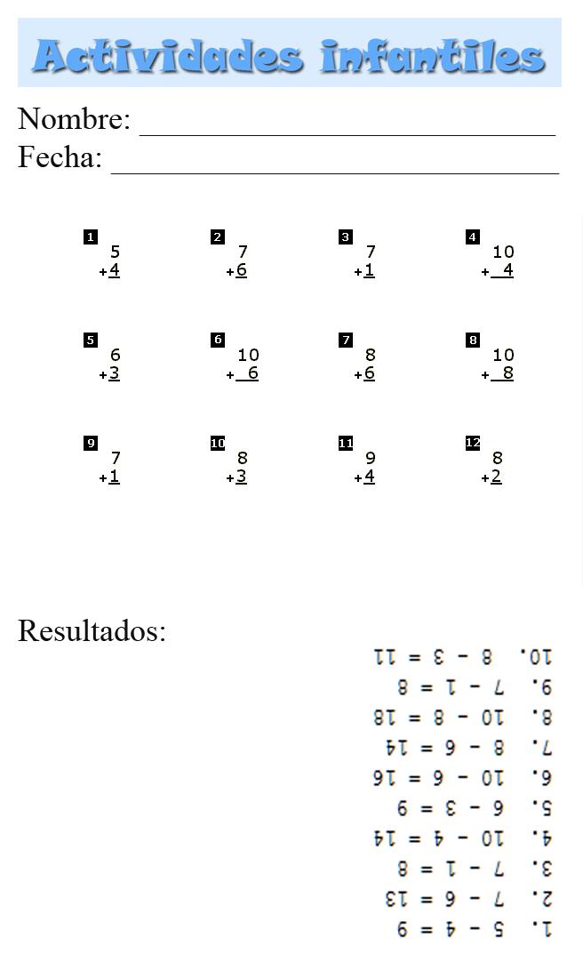 FICHAS DE SUMAS DE UNA CIFRA PARA NIÑOS DE PRIMARIA : ACTIVIDADES