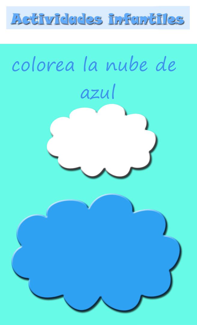 FICHAS PARA COLOREAR NUBE AZUL : ACTIVIDADES PARA NIÑOS