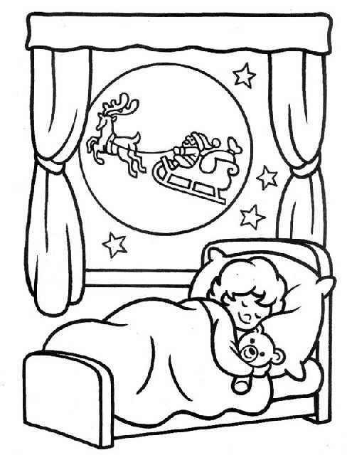 Dibujos navidad infantiles ni os durmiendo y papa noel for Cuarto ordenado animado
