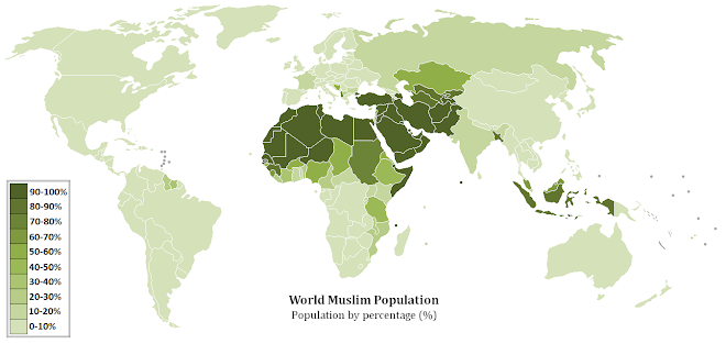 WORLD MUSLIM POPULATION MAP