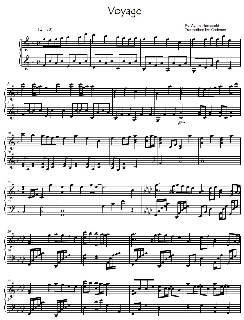 Sheet Music: Free Piano Sheet Music for Voyage by Ayumi Hamasaki