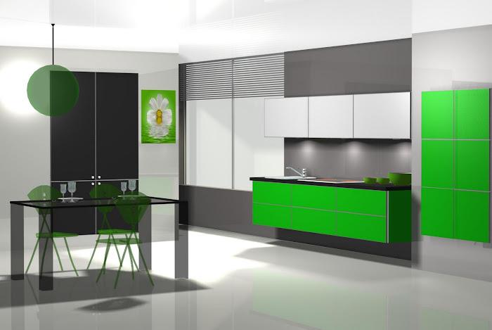 Diseño de cocina en llamativo color verde
