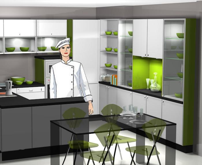 Cocina comedor en blanco y verde