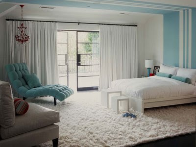 White turquoise and stripes all wrapped up into one room - bedroom ...