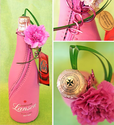 rosa champagne Lanson Rose Label, flaskdekoration,nejlika Farida,