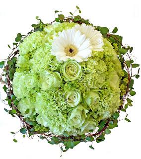 rund brudbukett, F-green, grön nejlika
