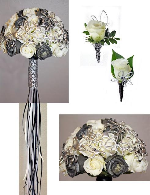 Brudbukett med vita och svarta rosor