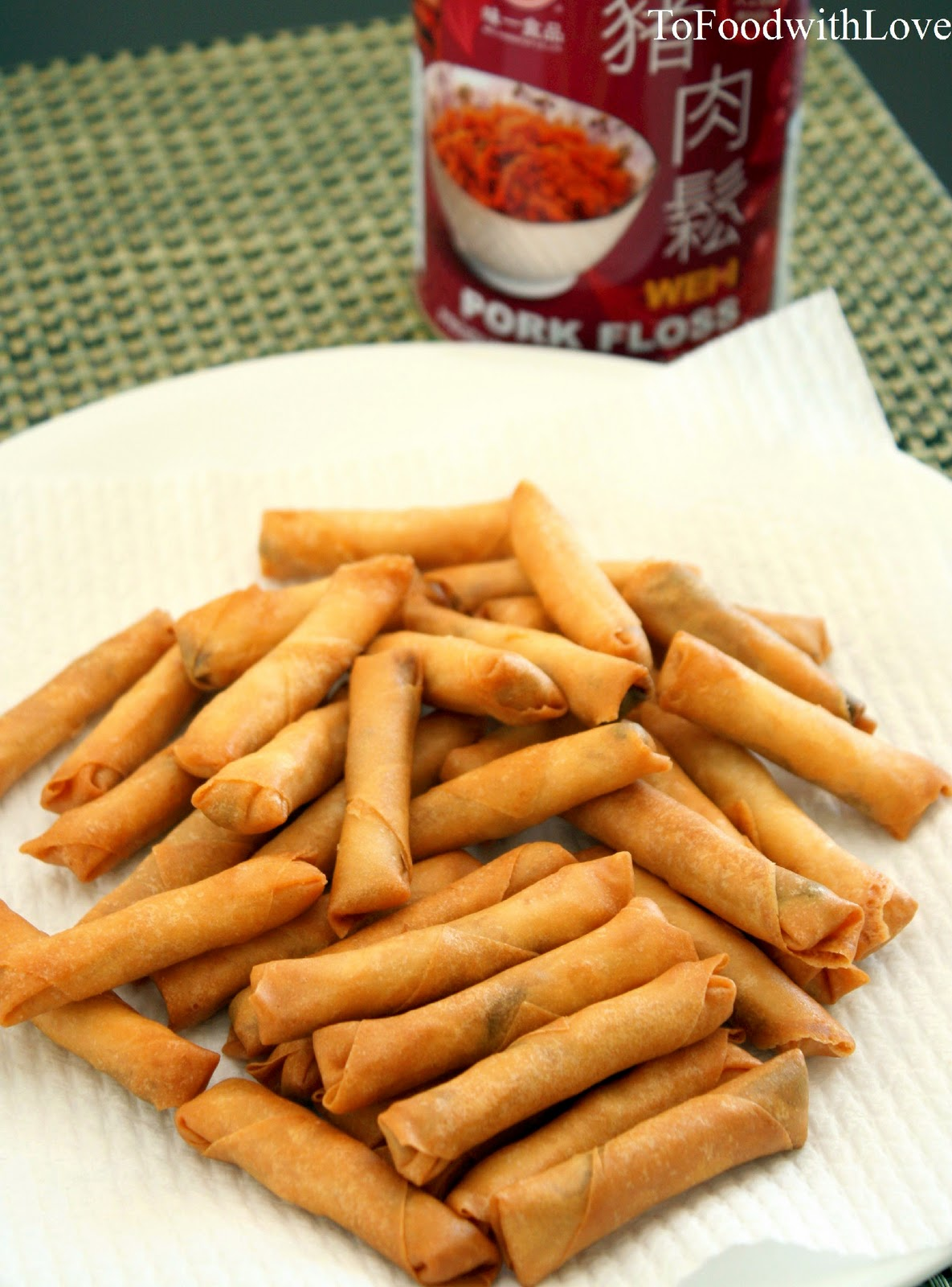 Mini Spring Rolls With Chicken Floss Recipe — Dishmaps