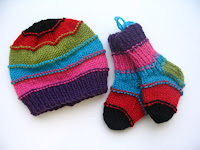 Striped hat with matching socks