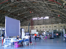 Inside the main hangar